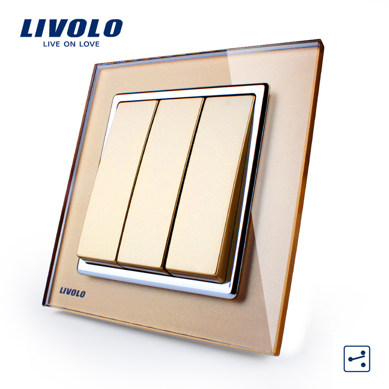 Livolo UK standard New Push Button Switch, Golden Glass Panel,3 Gangs 2 Way Control Wall Light Switch VL-W2K3S-13