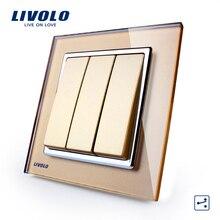 Livolo REINO estándar Nuevo Interruptor de Botón, Panel de oro de Vidrio, 3 Cuadrillas 2 Manera Interruptor de Control de Pared de Luz VL-W2K3S-13