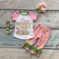 Capris primavera verão meninas do bebê todas as necessidades a pouco de bling meninas outfits festa de páscoa coelho roupas com acessórios