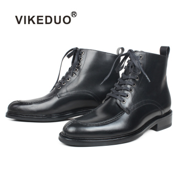 VIKEDUO New Winter Ankle Boots Men Genuine Calf Leather Fur Lining Plain Black Mans Footwear Military Fashion Men's Boot Zapatos