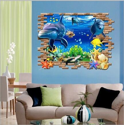 90*60 cm 3d dolphin wall sticker vinyl mural decal guest room kids