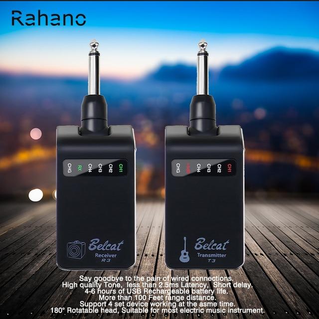 Rahano Rechargeable Wireless Guitar Bass Audio System-Digital Transmitter Receiver Set