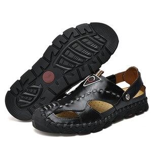 Image 5 - 2020 חדש אופנה אמיתי עור גברים סנדלי קיץ נעלי נוחות קלה גברים חוף סנדלי עור גברים נעליים בתוספת גודל
