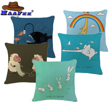 Childlike Toss Pillow Fun Creative Elephant Pilow Party Large Cotton Linen Promotion Home Decoration Animal Lumbar Pillow Covers(China)