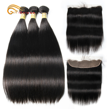 Htonicca ストレートヘアの束でブラジル毛織りバンドルフロント非レミー付フロンタル人間の髪のバンドル