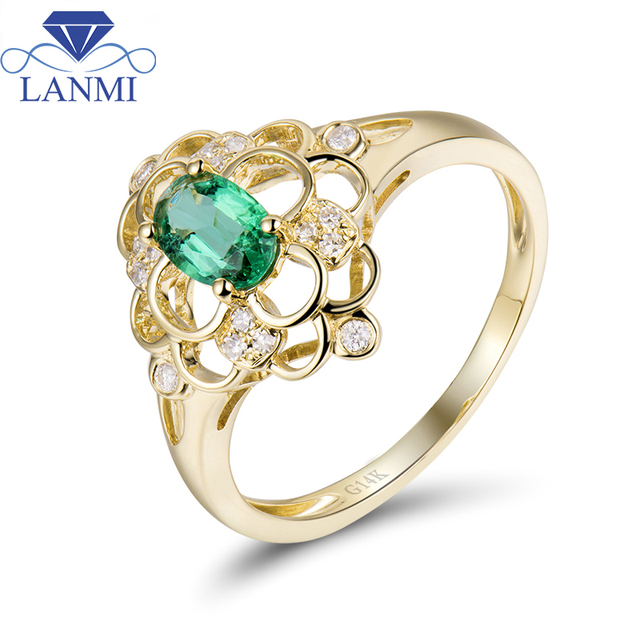 Lovely Special Design Colombia Emerald Ring 14K Yellow Gold