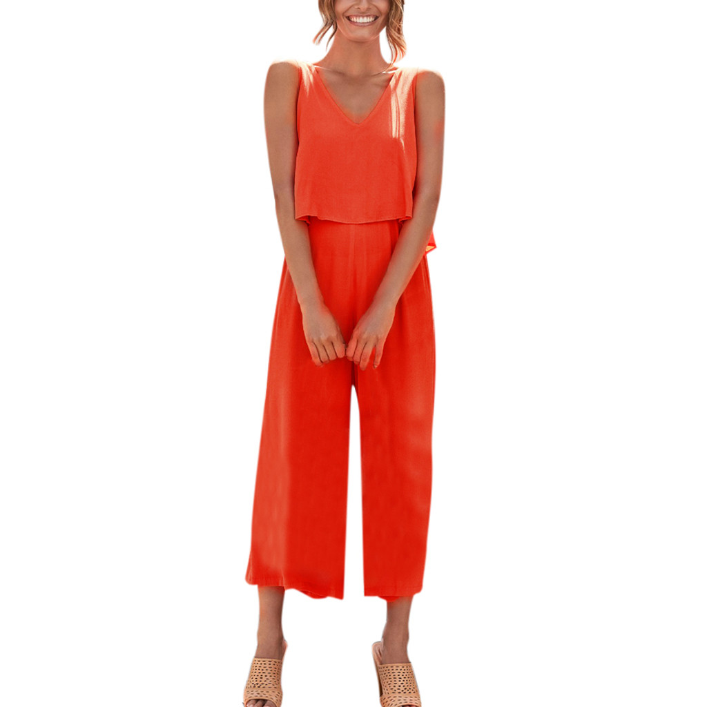 Women's Clothing Good Fashion Summer Women V-neck Sleeveless Cotton Linen Rompers Solid Wide Leg Long Playsuit Casual Loose Party Jumpsuit