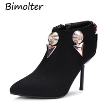 Bimolter Ladt Sexy Black Metal Decoration Ankle Boots Women High Heels Pointed Toe Winter Warm Shoes Big Size32-43 PAEA036
