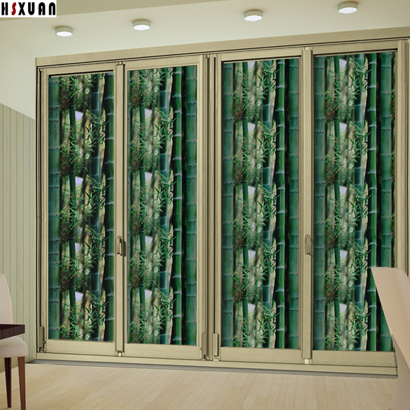 Bamboo Printed Decorative Window Privacy Film 50x100cm