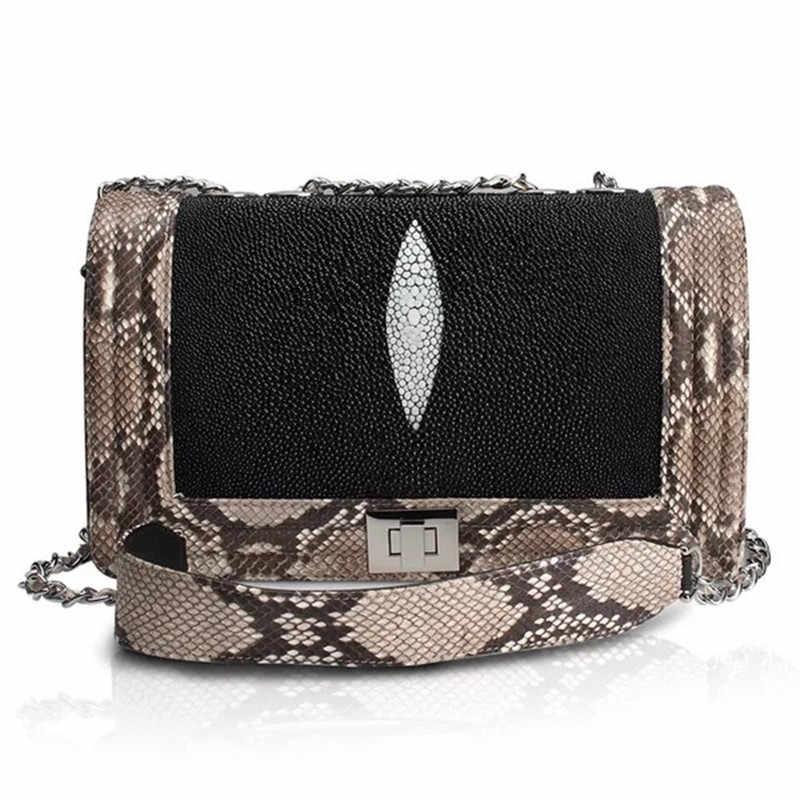 31d534e02816 Необычные настоящая кожа ската Для женщин вечерние кошелек одного сумка из  натуральной кожи питона кожа женская