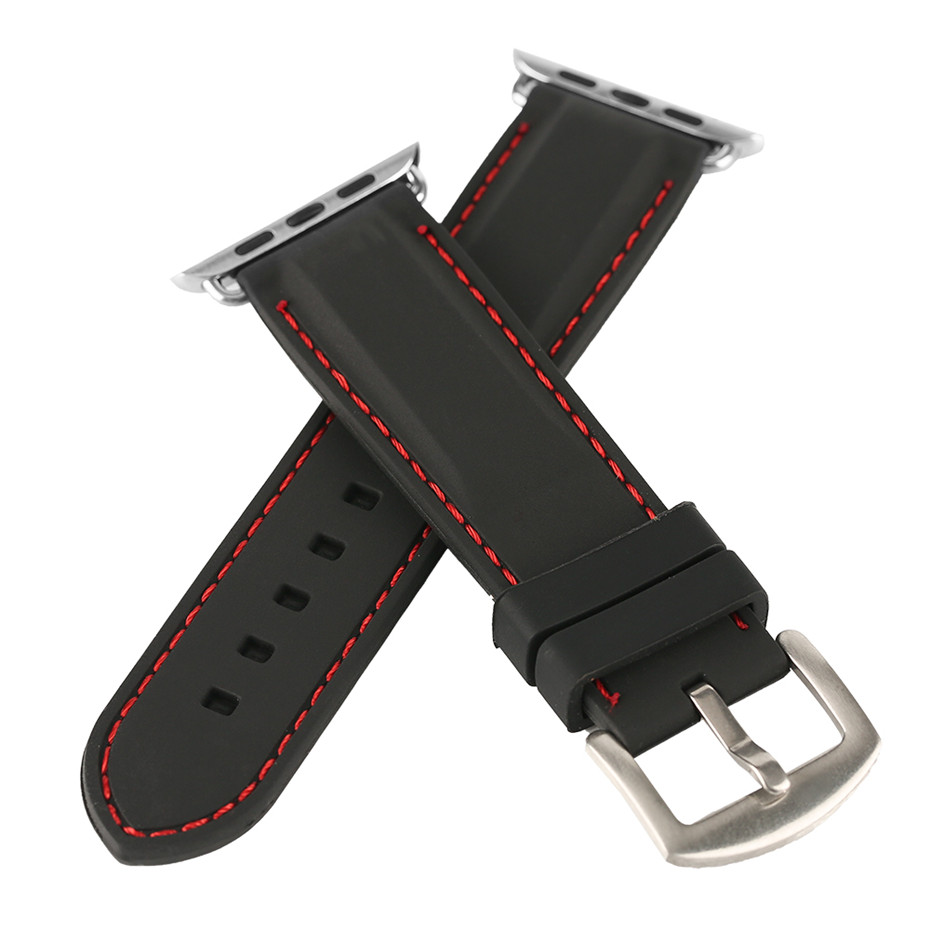 38/42mm Red/White Stitching Black Silicone Watchband for iWatch Sport Diving Watches Strap for Apple Watch Replacement Bracelet jansin 22mm watchband for garmin fenix 5 easy fit silicone replacement band sports silicone wristband for forerunner 935 gps