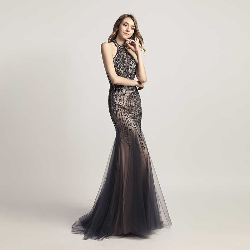 40afb045936 ... Sexy Halter Backless Mermaid Evening Dresses with Luxury Beading  Crystal Tulle Long Prom Plus Size Dress ...