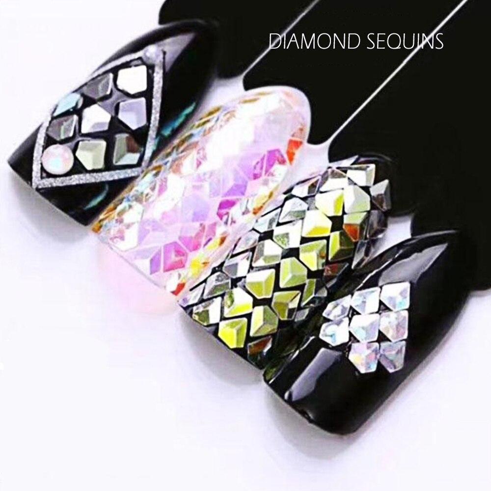 1 Box Holographische Diamant Form Nagel Glitter Flakes Pailletten ...