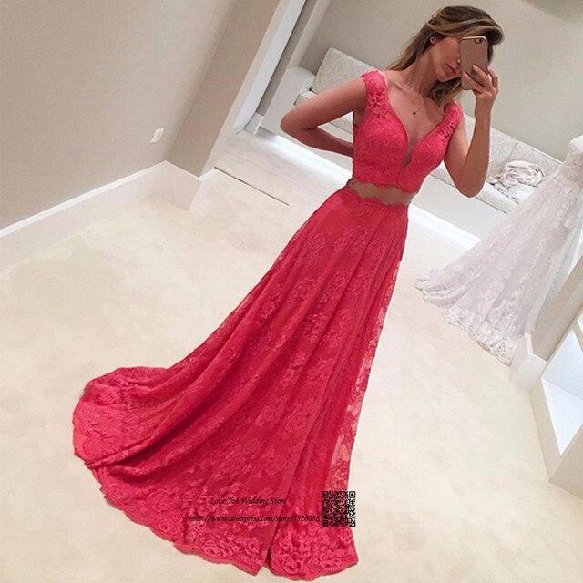 2e7ce4931 Modestos Vestidos de graduación de dos piezas 2017 Vestidos de Gala largo  vestido de graduación de