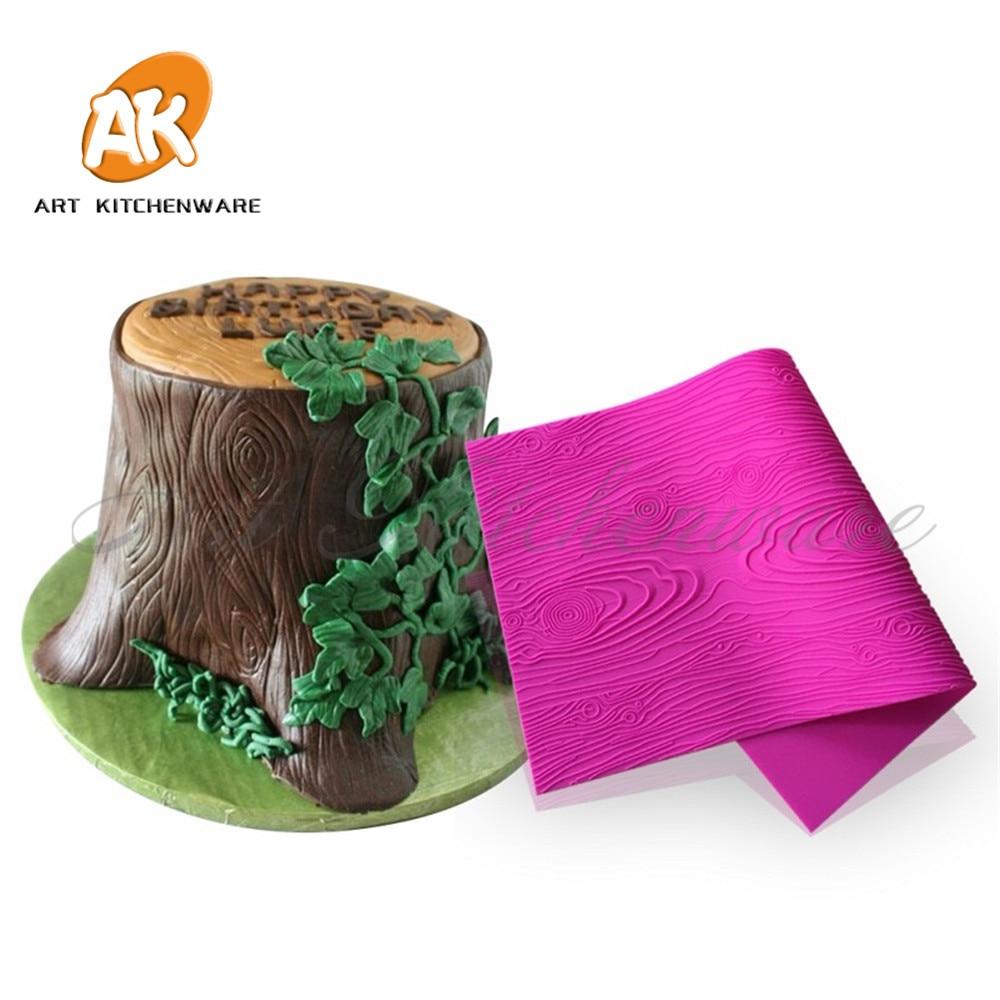 Woodgrain Fondant Impression Mat Jauns modelis Dekoratīvā dizaina kūka mežģīnes Rotā silikona Fondant Virtuves Bakeware rīki BLM-23