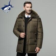 Chaqueta de invierno de marca para hombre Rusia abrigo largo Cuello de piel grueso a prueba de viento 90% chaqueta de plumón de pato blanco para hombre -25 grados