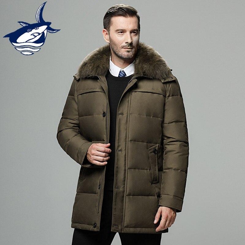 Marque hommes veste d'hiver russie long manteau chapeau fourrure col épais coupe-vent imperméable 90% blanc canard doudoune hommes-25 degrés