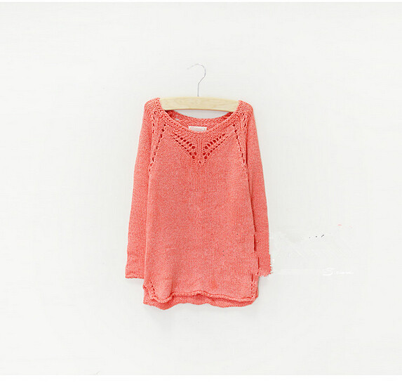 Y038 New 2014 Spring Brands Za Girl Casual Pullover Pink Full Sleeve Girl Sweater Solid Hollowout Fashion Girl's Tops