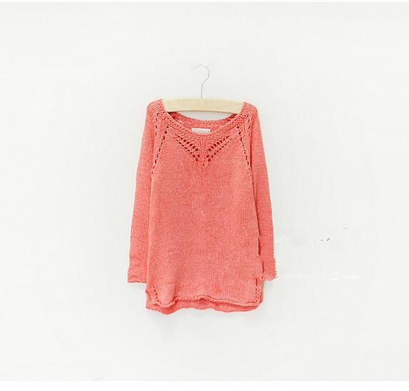 Y038 Nuevo 2014 Primavera Marcas Za Niña Informal Suéter Rosa Suéter de la Muchacha de la Manga Completa Sólido Hollowout Moda Tapas de la Muchacha