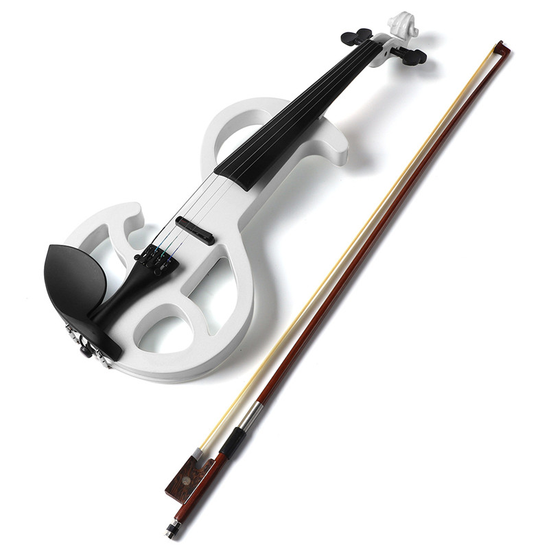 SENRHY 4/4 Size Silent Electric Violin Brazilwood Bow Basswood Body Handmade Solid Wood 4 Fine Tuners with Headphone Audio Cable 4 string orange 4 4 electric violin silent pickup fine tone solid wood3 the item is the color can choose color