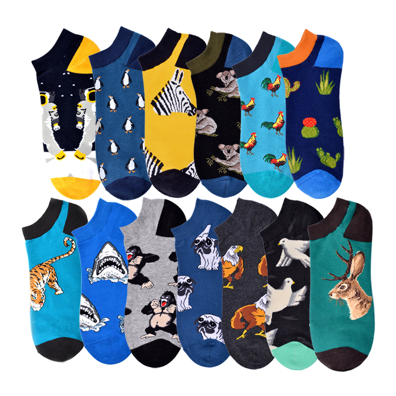 Summer Astronaut Pug Sloth Happy Chicken Crew Street Socks Ankle Cotton Short Funny Women Men Boat Socks Male Sock Slippers