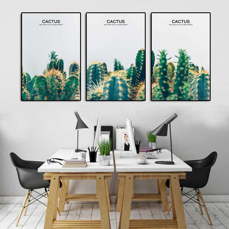 VISAFETYART- Green Cactus Canvas Painting Still Life Wall Art Picture Plant Posters and Prints for Bedroom Decorative No Frame