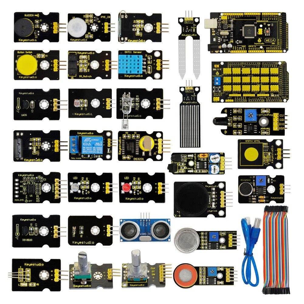 Livraison gratuite! nouveau Kit de démarrage de capteur (Mega 2560 + Shield V1) pour projet Arduino avec boîte-cadeau + capteurs (30 pièces) + PDF (en ligne)