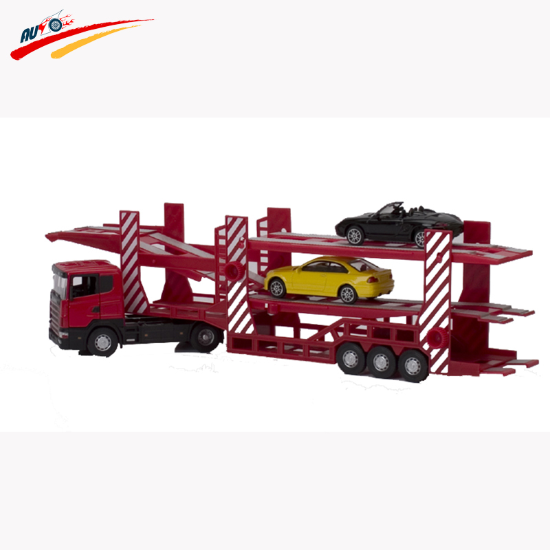 1 43 scale alloy double car transporter diecast car model collection pull back with 2pcs small. Black Bedroom Furniture Sets. Home Design Ideas