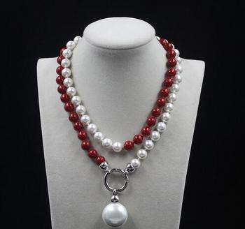 charming wedding white and red 10mm AAA shell pearl necklace long 35inch Earring