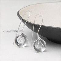 JINSE Brand Fashion National Bohemian Earring Jewelry Leaf Handmade Big Dangle Earrings S925 Pure Silver Earring