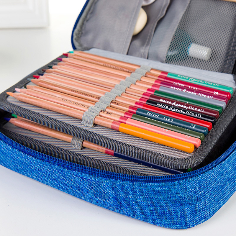 4 Layers 72 Holes Large Capacity Pencil Case Oxford Zipper Sketch Pencil Bag Handbag Pencil Box School Supplies Art Stationery good quality 36 48 72 holes canvas pencil case roll up sketch painting pen box school office pencil stationery bag b066
