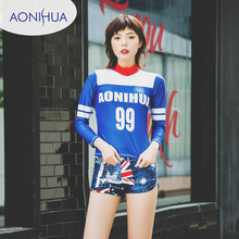 AONIHUA Two Piece Swimsuits Women Vintage Palm wave Print Long sleeve Swimwear female Retro Surfing Bathing Suit
