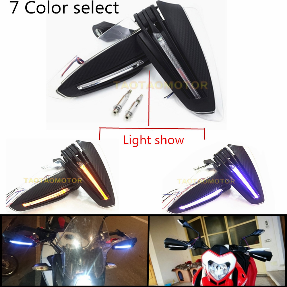 7 8 Motorcycle Handlebar Hand Guard Protector With LED Turn Signals For KAWASAKI NINJA 250R 300