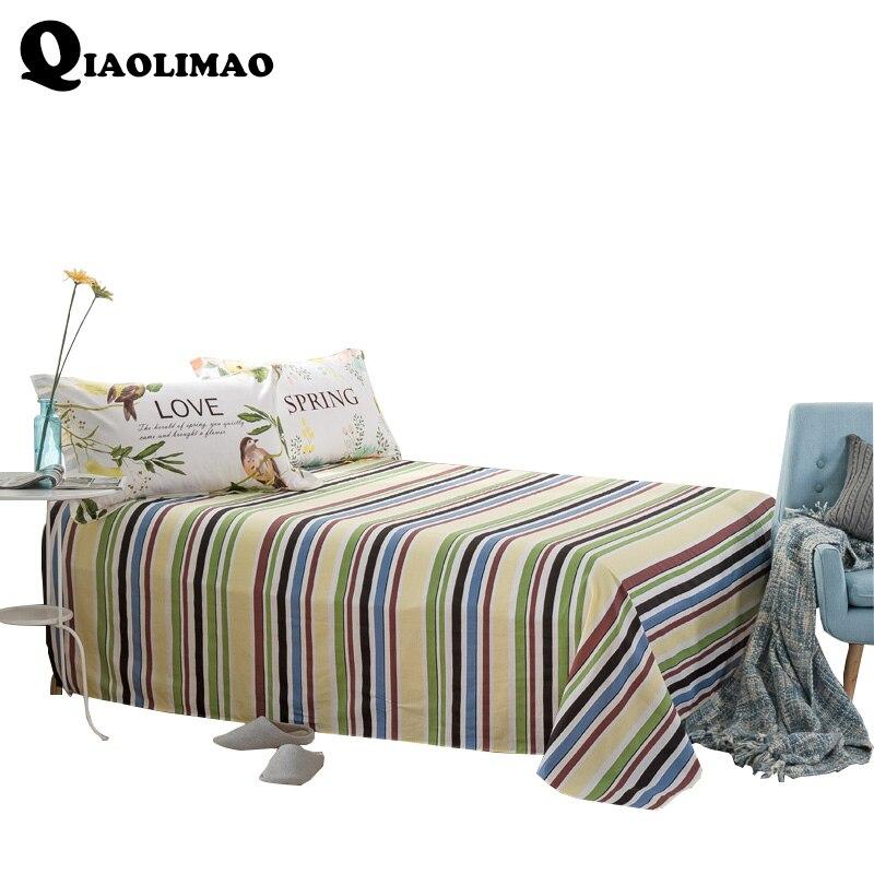 100% Cotton Stripes Flat Sheet Men Women Bedding Include Bed Flat Sheets Twin Full Queen King Size European Style Home Bedspread