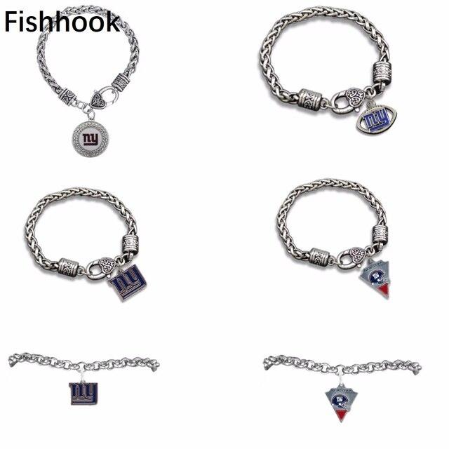 Fishhook Zinc Alloy New York Giants Antique Silver Toned Charm Bracelet Jewelry Fashion Sport Enamel Pendant
