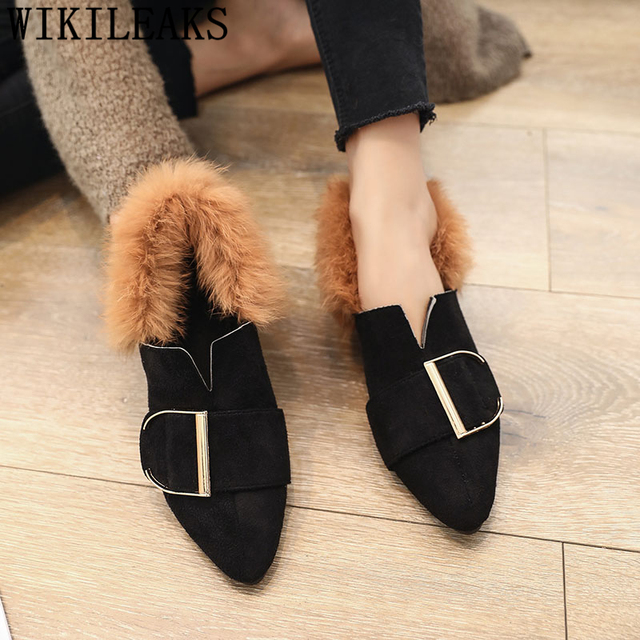 2018 new designer women shoes luxury brand flat shoes women fur slip on loafers zapatillas mujer casual ladies shoes black brown