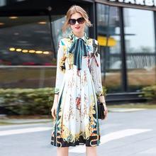 Visokokakovostna obleka za vzletno-pristajalne steze 2018 Novi prihod pomlad ženske obleke z dolgimi rokavi Modni tisk Casual Dress Ženska oblačila Vestidos