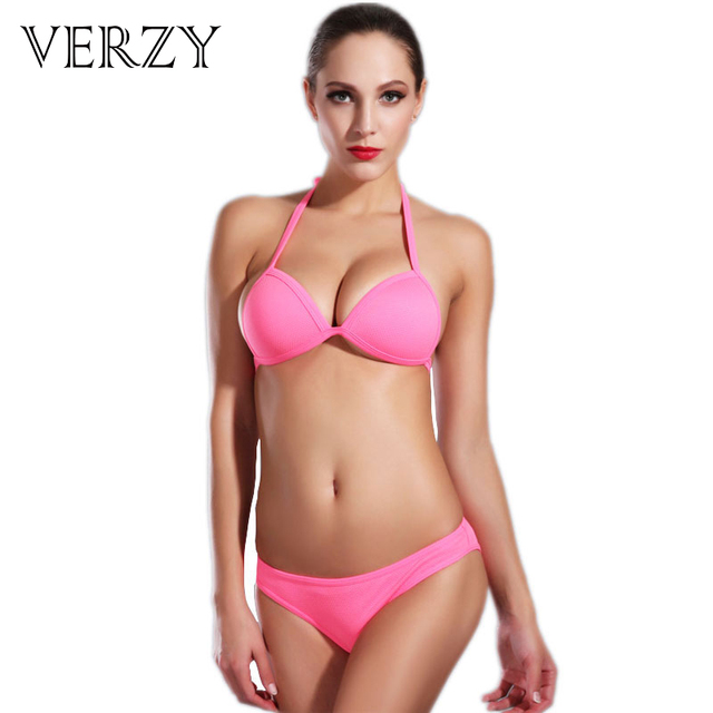 f0f5b10283e21 Super sexy brazilian micro bikini 2017 New bathing suits women halter Push  Up bikinis set Pink Green Low waist biquini swimsuit