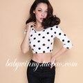 FREE SHIPPING 2016 Autumn New Arrival Fashion Brief Black Dots White Lycra Cotton Elasticity Three Quarter Sleeve Short T Shirt