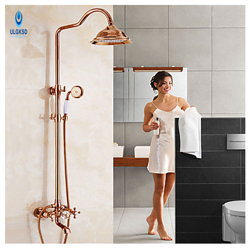 ULGKSD Rose Golden Bathroom Shower Faucet 8 Rainfall Bathroom Shower Faucethower Head W/Handheld Sprayer Tub Filter Mixer