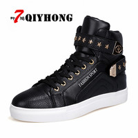 Casual Luxury QIYHONG Brand Hot Sell New Men'S Shoe High Help Flats Fashion Metal Quality PU And Vice Versa Leisure Men'S Shoes