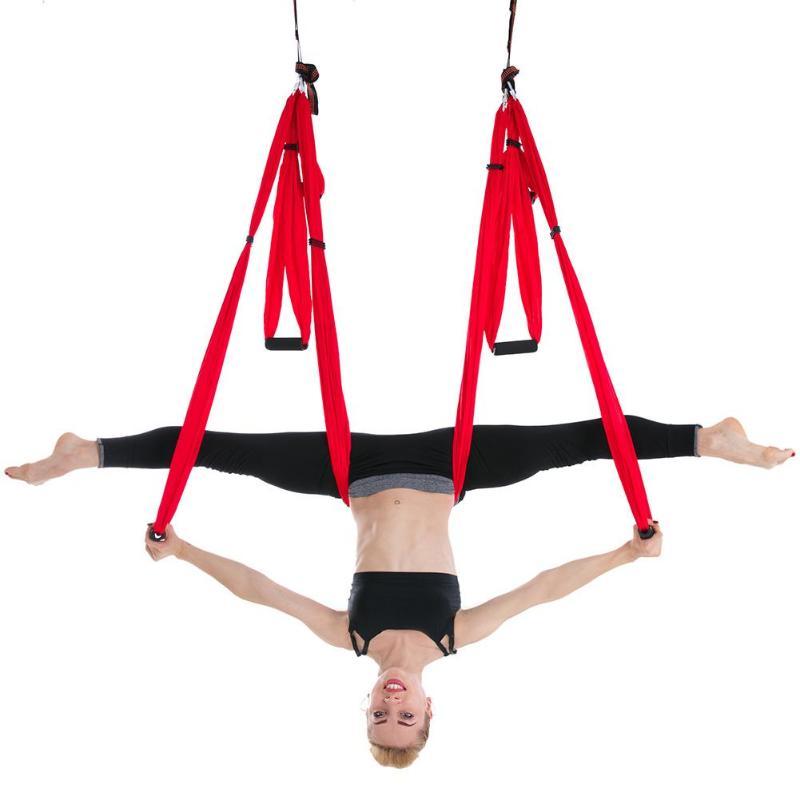 Rouge Anti-Gravité Yoga Hamac Haute Résistance Parachute Tissu la Thérapie D'inversion Volant De Traction De Yoga Gymnastique Suspendu Swing