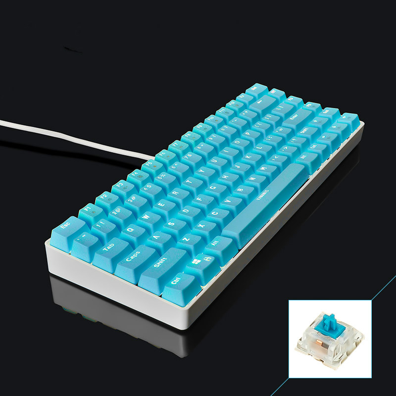 ФОТО KANANIC White Light Mechanical Gaming Keyboard CIY Blue Switch Blue/Pink/Orange/Purple PBT Keycap 82 Keys Wired USB Keyboard