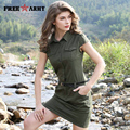 2017 New Womens Summer Military Dresses Casual Fashion sexy army green Slim Sleeveless lapel Ladies Dress GS-8561A