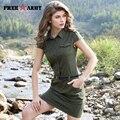 2017 nova mulher verão vestidos moda casual sexy exército verde militar fino sem mangas lapela ladies dress gs-8561a