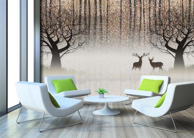 3d chambre papier peint personnalisé mural photo noir blanc Forêt ...