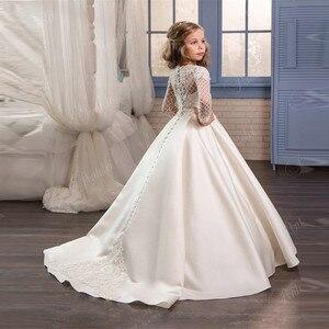 Image 1 - Белые цветочные платья для девочек на свадьбу, Тюлевое кружевное длинное платье для девочек вечерние рождественские платья дети принцесса костюм для детей 12T