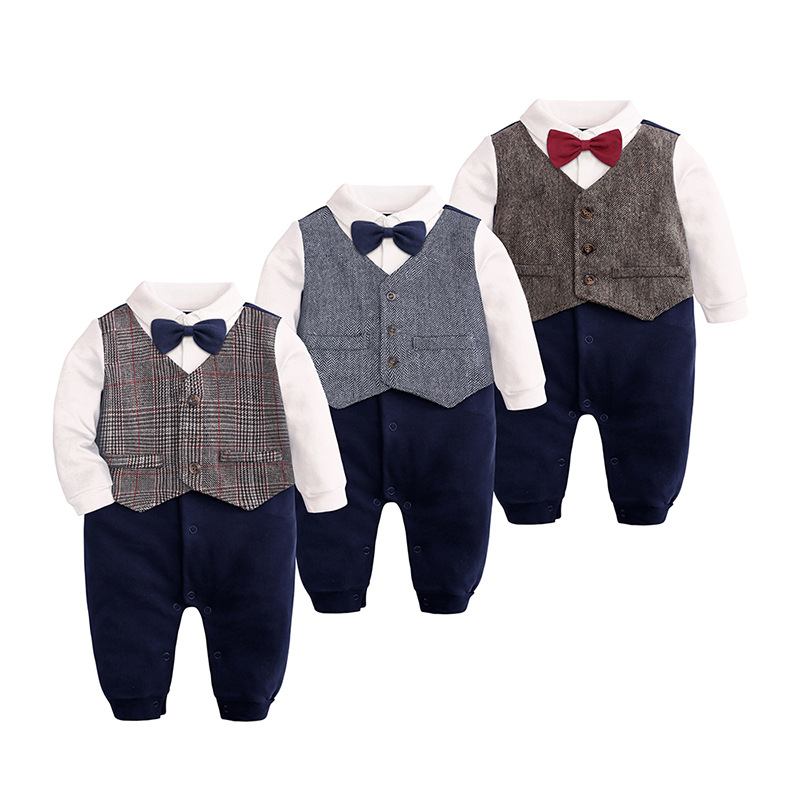 Infant Toddler Newborn Baby Boy Gentleman Outfits Set,One Piece Long Sleeve Romper Bow Tie Plaid Print Jumpsuit
