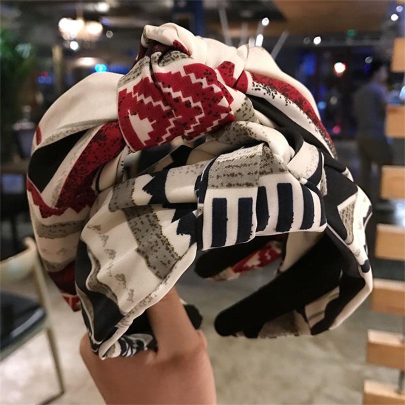 Haimeikang Fashion Style Hairband for Women/Girls Striped Print Hairband Headband 2018 Hot Knot   Headwear