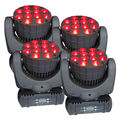 4PCS 12x12W RGBW 4 in 1 LED Beam DMX512  Stage Spot Light Strobe Wash Lamp Effects Lighting For DJ Club Party Show Concert